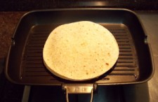 Quesadilla being cooked - 1st side - ICS