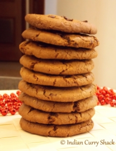 Chocolate Chip Oat Cookies (Stacked) - Indian Curry Shack