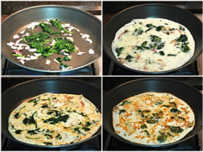 Egg White & Spinach Omelette - Collage - Indian Curry Shack